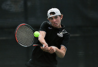 Bentonville's Boyce Read hits, Monday, October 11, 2021 during the 6A state girls and boys tennis tournament at Memorial Park in Bentonville. Check out nwaonline.com/211012Daily/ for today's photo gallery. <br /> (NWA Democrat-Gazette/Charlie Kaijo)