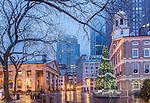Winter lights on Quincy Market at Faneuil Hall Marketplace, Boston, Massachusetts, USA