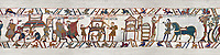 11th Century Medieval Bayeux Tapestry - Scene 46 - A watchman informs William of Harold armies movements. Scene 47 - Williams men burn down a house. Scene 47 - William prepares to meet Harold