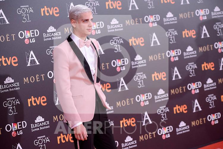 Eduardo Casanova attends to the Red Carpet of the Goya Awards 2017 at Madrid Marriott Auditorium Hotel in Madrid, Spain. February 04, 2017. (ALTERPHOTOS/BorjaB.Hojas)