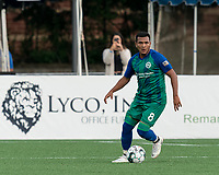HARTFORD, CT - AUGUST 17: Christian Gomez #8 of Hartford Athletic looks to pass during a game between Charleston Battery and Hartford Athletic at Dillon Stadium on August 17, 2021 in Hartford, Connecticut.