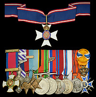 BNPS.co.uk (01202 558833)<br /> Pic: DixNoonanWebb/BNPS<br /> <br /> Pictured: The medals.<br /> <br /> Left to right:<br /> The Royal Victorian Order, C.V.O,  Distinguished Service Order, Distinguished Flying Cross, with Second Award Bar,<br /> 1939-45 Star with Battle of Britain clasp, Air Crew Europe Star, Defence and War Medals 1939-45, with M.<br /> I.D. oak leaf, Coronation medal 1953, Jubilee medal 1977, Netherlands, Kingdom, Queen Juliana's Coronation Medal 1948, Order of Orange-Nassau.<br /> <br /> The wartime gallantry medals awarded Princess Margaret's lover, Group Captain Peter Townsend, today sold for £260,000.<br /> <br /> The RAF 'ace' shot down at least 11 enemy aircraft in over 300 operational sorties during the Battle of Britain and beyond.<br /> <br /> He became the first RAF pilot to bring down an enemy aircraft on English soil in February 1940.