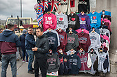 Stall seling tourist souvenir sweatshirts on Westminster Bridge, London.