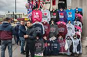 Stall seling tourist souvenir sweatshirts on Westminster Bridge, London.