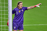 18th February 2021, Orlando, Florida, USA;  United States goalkeeper Alyssa Naeher (1) points down field during a SheBelieves Cup game between Canada and the United States on February 18, 2021 at Exploria Stadium in Orlando, FL.
