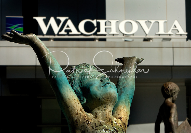 Statues on the plaza at the Wachovia headquarters in uptown Charlotte, NC.