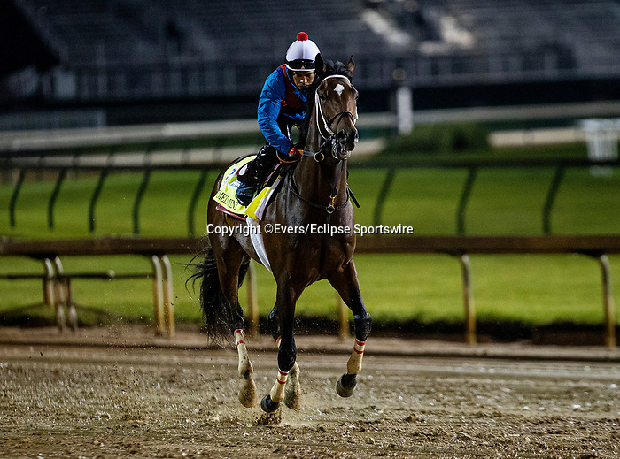 April 29, 2021: Keepmeinmind gallops in preparation for the Kentucky Derby at Churchill Downs in Louisville, Kentucky on April 29, 2021. EversEclipse Sportswire/CSM