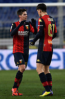 Miha Zajc of Genoa CFC celebrates with Eldor Shomurodov after scoring the goal of 1-0 during the Serie A football match between Genoa CFC and Bologna FC at Marassi Stadium in Genova (Italy), January 10th, 2021. Photo Daniele Buffa / Image Sport / Insidefoto