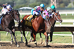 September 19, 2015. #4 Trouble Kid, Joshua Navarro up, races between Limousine Liberal (#3, left) and Bayerd (right) on his way to winning the $300,000, grade III Gallant Bob Stakes, six furlongs for three-year-olds, at  Parx Racing in Bensalem, PA. Trainer is Ramon Preciado, owner is Barbara Hopkins. (Joan Fairman Kanes/ESW/CSM)