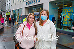 Waiting in the queue for Penny's reopening on Monday, l to r: Anna Creagh and Christina Downey