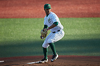 Charlotte 49ers starting pitcher Carson Pinkney (32) in action against the Marshall Thundering Herd at Hayes Stadium on March 22, 2019 in Charlotte, North Carolina. The Thundering Herd defeated the 49ers 12-6. (Brian Westerholt/Four Seam Images)