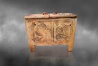 Minoan  pottery larnax coffin chest with fstylised floral decorations,  Episkopi-Lerapetra 1350-1250 BC, Heraklion Archaeological  Museum, grey background.