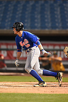 Chandler Crutcher (18) of Baker High School in Mobile, Alabama playing for the New York Mets scout team during the East Coast Pro Showcase on July 31, 2014 at NBT Bank Stadium in Syracuse, New York.  (Mike Janes/Four Seam Images)