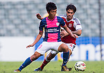 Ka Wai Lam of Kitchee (L) competes for the ball with (R) Sean Ka Keung Tse of SCAA (R) during the HKFA Premier League between South China Athletic Association vs Kitchee at the Hong Kong Stadium on 23 November 2014 in Hong Kong, China. Photo by Aitor Alcalde / Power Sport Images