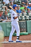 Tennessee Smokies right fielder Billy McKinney (4) in the on deck circle during a game against the Mobile BayBears on May 27, 2015 in Kodak, Tennessee. The Smokies defeated the BayBears 3-2. (Tony Farlow/Four Seam Images)