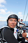 Onboard the AC 45 China Team 1 during a training session in Cascais Portugal before the start of the America's Cup World Series..Cheng Ying Kit.