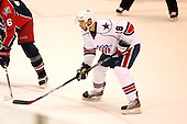 December 30th, 2007:  Rob Globke (18) of the Rochester Amerks prepares for a face off during the first period of play.  The Syracuse Crunch shutout the Rochester Amerks 4-0 to earn the win at Blue Cross Arena at the War Memorial in Rochester, NY.  Photo Copyright Mike Janes Photography 2007.