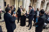 """BMZ-Konferenz """"Religion und die Agenda 2030 fuer nachhaltige Entwicklung"""".<br /> Vlnr: Tawakkol Karman, Friedensnobelpreistraegerin (2011), Jemen und Dr. Gerd Mueller, Bundesminister fuer wirtschaftliche Zusammenarbeit und Entwicklung.<br /> 17.2.2016, Berlin<br /> Copyright: Christian-Ditsch.de<br /> [Inhaltsveraendernde Manipulation des Fotos nur nach ausdruecklicher Genehmigung des Fotografen. Vereinbarungen ueber Abtretung von Persoenlichkeitsrechten/Model Release der abgebildeten Person/Personen liegen nicht vor. NO MODEL RELEASE! Nur fuer Redaktionelle Zwecke. Don't publish without copyright Christian-Ditsch.de, Veroeffentlichung nur mit Fotografennennung, sowie gegen Honorar, MwSt. und Beleg. Konto: I N G - D i B a, IBAN DE58500105175400192269, BIC INGDDEFFXXX, Kontakt: post@christian-ditsch.de<br /> Bei der Bearbeitung der Dateiinformationen darf die Urheberkennzeichnung in den EXIF- und  IPTC-Daten nicht entfernt werden, diese sind in digitalen Medien nach §95c UrhG rechtlich geschuetzt. Der Urhebervermerk wird gemaess §13 UrhG verlangt.]"""