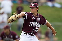 Texas A&M Aggies pitcher Matt Kent (31) delivers a pitch to the plate against the LSU Tigers in the NCAA Southeastern Conference baseball game on May 10, 2013 at Blue Bell Park in College Station, Texas. LSU defeated Texas A&M 7-4. (Andrew Woolley/Four Seam Images).