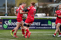 Alex Morgan of Jersey Reds (centre) celebrates with Conor Joyce of Jersey Reds (7) after he scores his team's first try during the Championship Cup QF match between Ealing Trailfinders and Jersey Reds at Castle Bar, West Ealing, England  on 22 February 2020. Photo by David Horn.