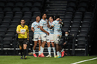 4th April 2021; Paris La Défense Arena, Nanterre, Paris, France; European Champions Cup Rugby, Racing 92 versus Edinburgh;  Racing players cleebrate the try scored by Racing  F Trinh Duc