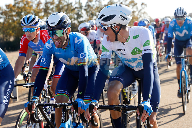 Alejandro Valverde and team mate White Jersey Enric Mas (ESP) Movistar Team chat in the peloton during Stage 9 of the Vuelta Espana 2020 running 157.7km from B.M. Cid Campeador. Castrillo del Val to Aguilar de Campo, Spain. 29th October 2020.    <br /> Picture: Luis Angel Gomez/PhotoSportGomez | Cyclefile<br /> <br /> All photos usage must carry mandatory copyright credit (© Cyclefile | Luis Angel Gomez/PhotoSportGomez)