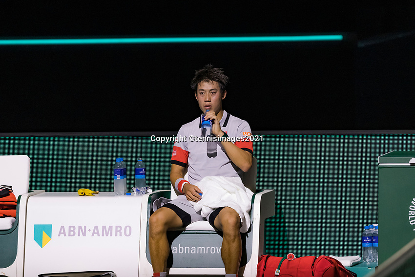 Rotterdam, The Netherlands, 28 Februari 2021, ABNAMRO World Tennis Tournament, Ahoy, First round match: Kei Nishikori (JPN).<br /> Photo: www.tennisimages.com/henkkoster