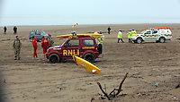 Pictured: Coastguard, RNLI, police and bomb experts at Cefn Sidan beach, near Pembrey west Wales, UK. Saturday 21 May 2016<br />