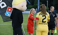 Jana Simons (8) of Woluwe gives a fist bump to Ellen Martens (2) of Club Brugge after the coin toss at the start of  a female soccer game between FC Femina White Star Woluwe and Club Brugge YLA on the second matchday in the 2021 - 2022 season of Belgian Scooore Womens Super League , Friday 27 th of August 2021  in Woluwe , Belgium . PHOTO SPORTPIX | SEVIL OKTEM