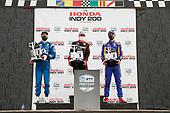 #1: Josef Newgarden, Team Penske Chevrolet, #12: Will Power, Team Penske Chevrolet, #27: Alexander Rossi, Andretti Autosport Honda, podium