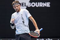 8th February 2021, Melbourne, Victoria, Australia;  Dominic Thiem of Austria celebrates after winning a game during round 1 of the 2021 Australian Open on February 8 2020