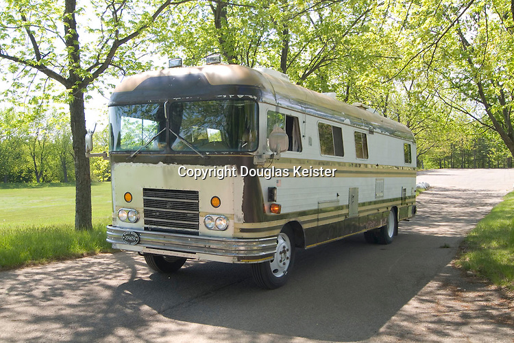 Craig and Pat Leach are restoring this rare 30-foot 1969 Newell, which has a 454 gasoline engine. Photographed in Camp Dearborn, Michigan.