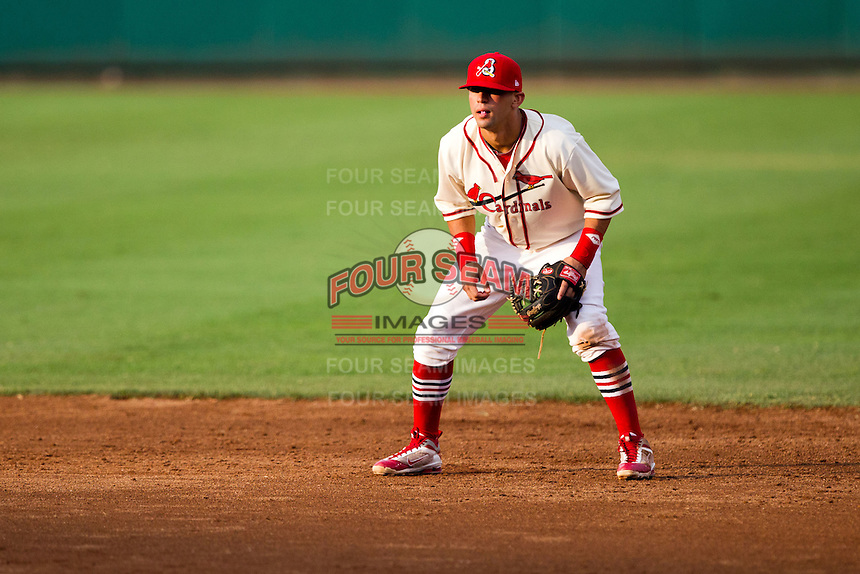 Jose Garcia (3) of the Springfield Cardinals on defense during a game against the Northwest Arkansas Naturals and the Springfield Cardinals at Hammons Field on July 30, 2011 in Springfield, Missouri. Springfield defeated Northwest Arkansas 11-5. (David Welker / Four Seam Images)