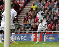 Pictured: Marvin Emnes of Swansea (R) celebrating his goal, making the score 2-0 to Swansea. Sunday 11 May 2014<br /> Re: Barclay's Premier League, Sunderland v Swansea City FC at the Stadium of Light, Sunderland, UK.