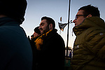 Alvechurch FC 3 Highgate United 0, 26/12/2016. Lye Meadow, Midland Football League Premier Division. Home sup[porters watching the first-half action at Lye Meadow as Alvechurch (in amber) hosted Highgate United in a Midland Football League premier division match. Originally founded in 1929 and reformed in 1996 after going bust, the club has plans to move from their current historic ground to a new purpose-built stadium in time for the 2017-18 season. Alvechurch won this particular match by 3-0, watched by 178 spectators, taking them back to the top of the league. Photo by Colin McPherson.