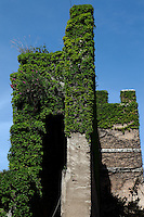 Rome, Porta Pia: A side view of the ivy-covered Aurelian walls at Porta Pia (Pia gateway), where the Bersaglieri entered through a breach.