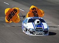 Oct. 16, 2011; Chandler, AZ, USA; NHRA pro stock driver Allen Johnson during the Arizona Nationals at Firebird International Raceway. Mandatory Credit: Mark J. Rebilas-