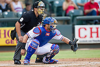 Round Rock Express catcher Geovany Soto (16) behind the plate during the Pacific Coast League baseball game against the Oklahoma City RedHawks on August 1, 2014 at the Dell Diamond in Round Rock, Texas. The Express defeated the RedHawks 6-5. (Andrew Woolley/Four Seam Images)