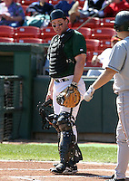 April 21, 2005:  Catcher Mike Kinkade of the Buffalo Bisons during a game at Dunn Tire Park in Buffalo, NY.  Buffalo is the International League Triple-A affiliate of the Cleveland Indians.  Photo by:  Mike Janes/Four Seam Images