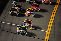 Feb 07, 2009; Daytona Beach, FL, USA; NASCAR Sprint Cup Series driver Jimmie Johnson (48) leads Jamie McMurray during the Bud Shootout at Daytona International Speedway. Mandatory Credit: Mark J. Rebilas-