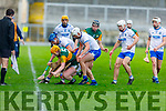 Kerry Conor O'Keeffe been well marshalled by Waterford in the Munster Senior Hurling League in Austin Stack Park on Sunday