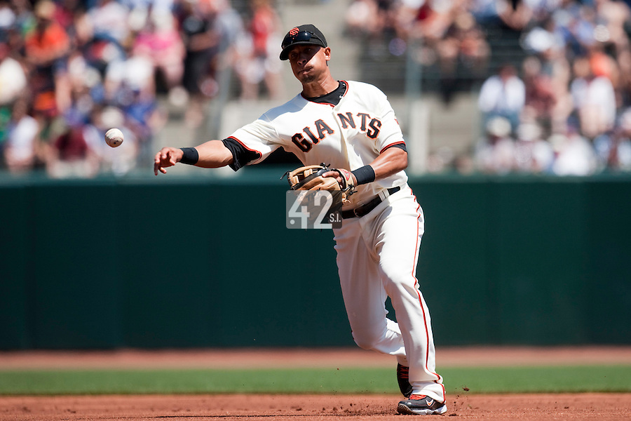 22 April 2009: San Francisco Giants' Emmanuel Burriss throws the ball to first base during the San Francisco Giants' 1-0 win  in the 10th inning over the San Diego Padres at AT&T Park in San Francisco, CA.