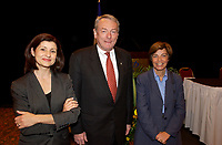 June 3, 2002, Montreal, Quebec, Canada; <br /> <br /> Doctor Christiane Ayotte, Director, National Institute of Scientific Research's laboratory (L)<br /> Louis Beaudoin, Quebec State Minister, International Relations (R)<br />  Richard Pound, Chairman of the World Anti-<br /> Doping Agency (M)<br /> discuss berfore signing an agreemeent regarding the Agency's new headquarter in Montreal, June 3, 2002<br /> <br /> <br /> <br /> <br /> (Mandatory Credit: Photo by Sevy - Images Distribution (©) Copyright 2002 by Sevy<br /> <br /> NOTE :  D-1 H original JPEG, saved as Adobe 1998 RGB
