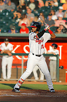 Lansing Lugnuts outfielder Freddy Rodriguez (31) during a game against the Dayton Dragons at Cooley Law School Stadium on August 10, 2018 in Lansing, Michigan. Lansing defeated Dayton 11-4.  (Robert Gurganus/Four Seam Images)