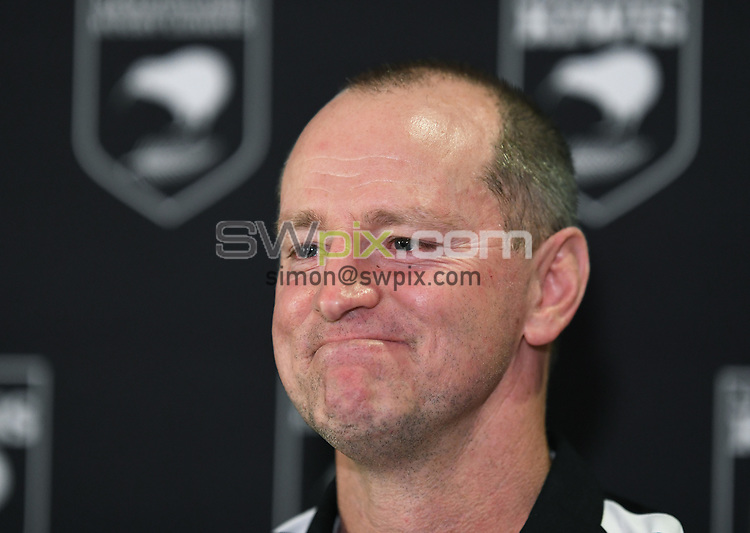Kiwis coach Michael Maguire during a press conference ahead of the upcoming test match against the Australian Kangaroos this weekend. Pullman Hotel, Auckland, New Zealand. Tuesday 9 October 2018. © Copyright photo: Andrew Cornaga / www.photosport.nz