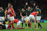 Bryan Habana of South Africa celebrates after winning the Quarter Final (Match 41) of the Rugby World Cup 2015 between South Africa and Wales - 17/10/2015 - Twickenham Stadium, London<br /> Mandatory Credit: Rob Munro/Stewart Communications