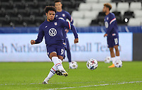 SWANSEA, WALES - NOVEMBER 12: Weston McKennie #8 of the United States warming up before a game between Wales and USMNT at Liberty Stadium on November 12, 2020 in Swansea, Wales.
