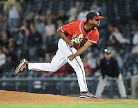 12 April 2008: LHP Nelson Payano (17) of the Mississippi Braves, Class AA affiliate of the Atlanta Braves, in a game against the Mobile BayBears at Trustmark Park in Pearl, Miss. Photo by:  Tom Priddy/Four Seam Images