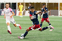 FOXBOROUGH, MA - SEPTEMBER 04: Nicolas Firmino #29 of New England Revolution II kicks a long pass during a game between Forward Madison FC and New England Revolution II at Gillette Stadium on September 04, 2020 in Foxborough, Massachusetts.