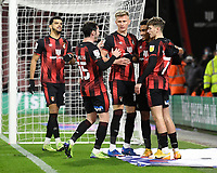 Junior Stanislas of AFC Bournemouth right celebrates scoring the first goal with during AFC Bournemouth vs Wycombe Wanderers, Sky Bet EFL Championship Football at the Vitality Stadium on 15th December 2020